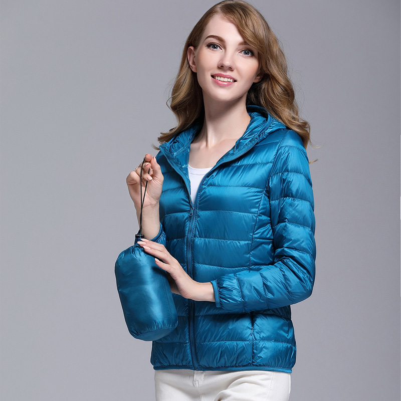 Women White Duck Down Jacket Autumn Female Ultra Light Down Jackets Slim Solid Long Sleeve Hooded Parkas Candy Color