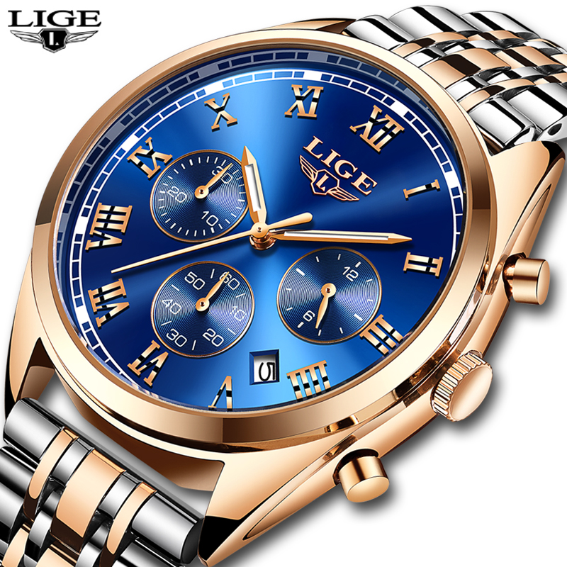 Mens Watches LIGE Top Brand Luxury Men Stainless Steel Waterproof Quartz Watch Men's Fashion Business Watches Relogio Masculino relogio masculino mens watches lige top brand luxury men stainless steel waterproof quartz watch men s fashion business watch
