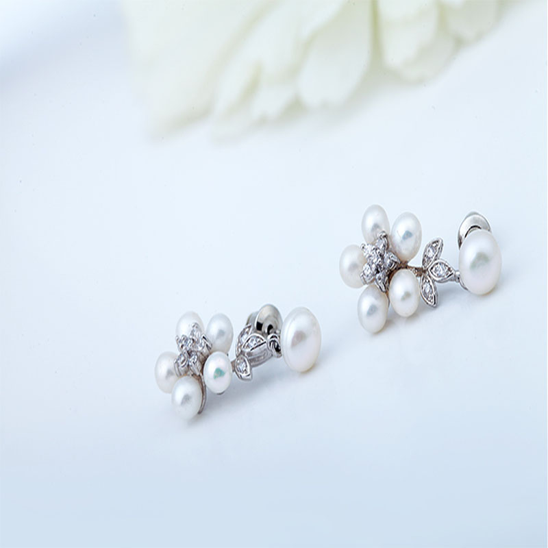 LUOTEEMI Mewah 5 pcs Mutiara Air Tawar Alami Pernyataan Stud Earrings - Perhiasan fashion - Foto 4