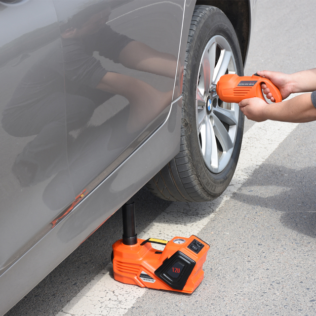 Free Shipping Tyre Change Tools Small Electric Lift Car Jack And Impact Wrench Factory