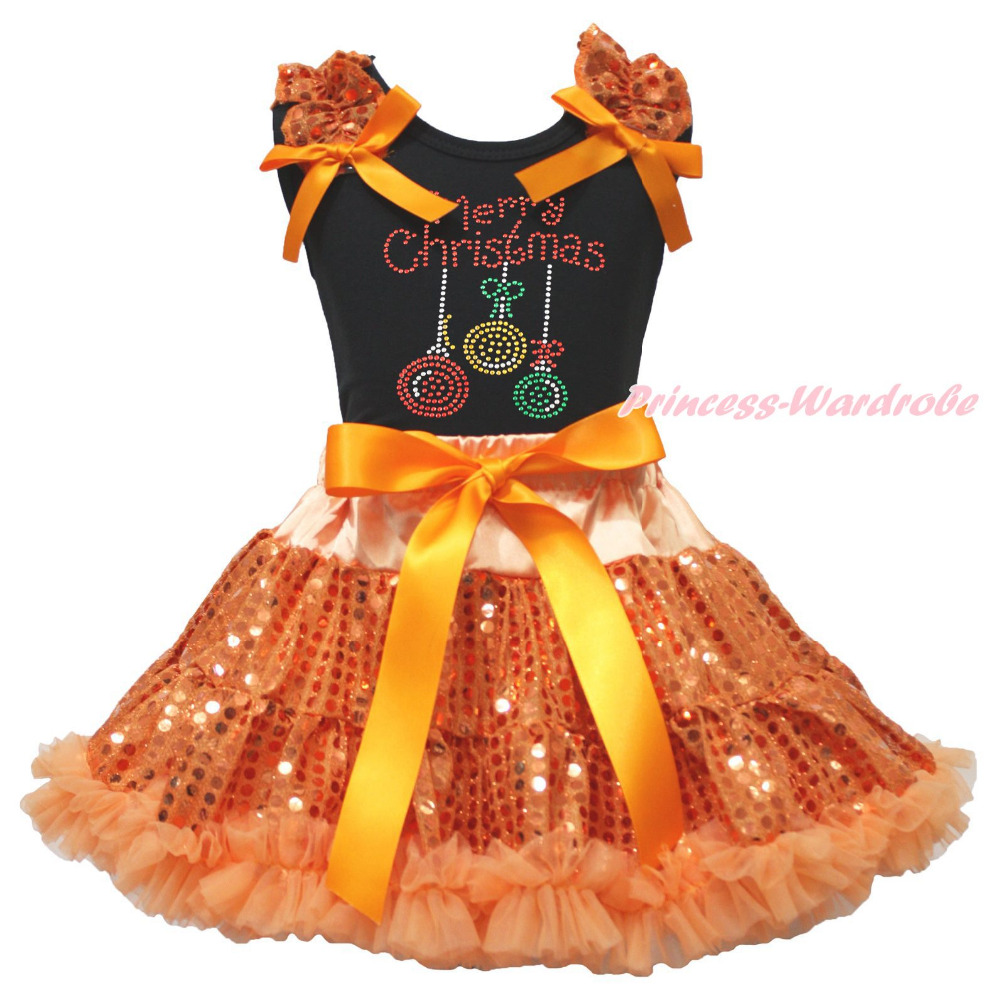 Christmas Lighting Black Top Orange Bling Sequins Girls Skirt Outfit Set 1-8Year father day daddy always be my king orange top girls skirt cloth outfit set 1 8y mapsa0841