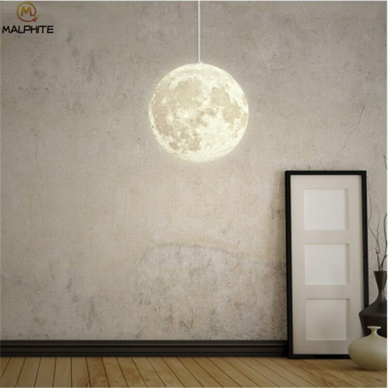 Nordic 3D Print Lunar Hanglampen Woonkamer Moderne Decor Armatuur Slaapkamer Nachtkastjes Maan Licht Opknoping Hanglamp Armatuur