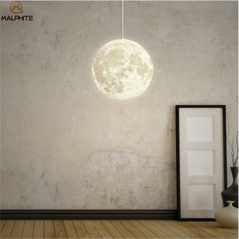 Nordic 3D Print Lunar Pendant Lights Living Room Modern Decor Luminaire Bedroom Bedsides Moon Light Hanging Pendant Lamp FixtureNordic 3D Print Lunar Pendant Lights Living Room Modern Decor Luminaire Bedroom Bedsides Moon Light Hanging Pendant Lamp Fixture