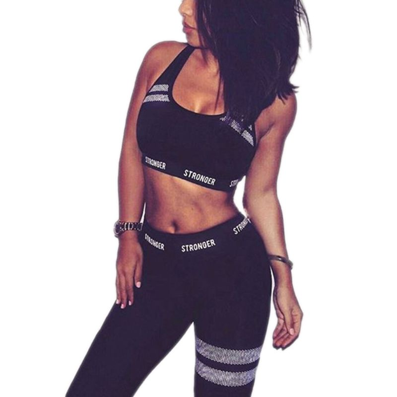 Women 2Pcs Sport Outfit Letters Seamless Crop Top Vest High Waist Leggings Honeycomb Striped Suit Fitness Workout Tracksuit