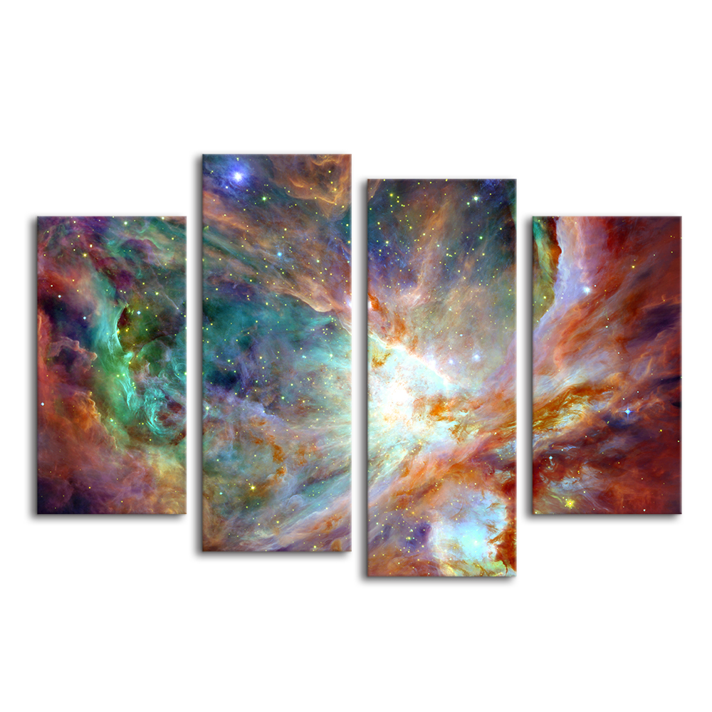 US $22 79 50% OFF|Nebula Scenery Canvas Prints 4 Piece Space Landscape  Giclee Wall Art Creative Home Decoration Unstretched Canvas Rolls-in  Painting &