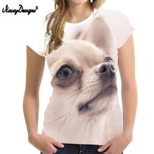 NOISYDESIGNS Camiseta con estampado 3D de Chihuahua para mujer, playera con diseño de perro Kawaii para adolescentes, ropa de Fitness para mujer