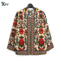 [XPY]Slim New Fashion Jacket Women Spring And Summer Outerwear Vintage Women Lady Ethnic Floral Print Embroidered Short Jacket
