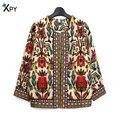 [Xpy] delgado nuevas mujeres de la chaqueta prendas de vestir exteriores de primavera y verano vintage señora de las mujeres de impresión floral étnico bordado corto chaqueta