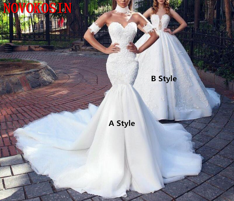 Sweetheart Neckline Lace Mermaid Wedding Dresses New 2019: 2019 Fashion Mermaid Lace Wedding Dresses Sweetheart Neck
