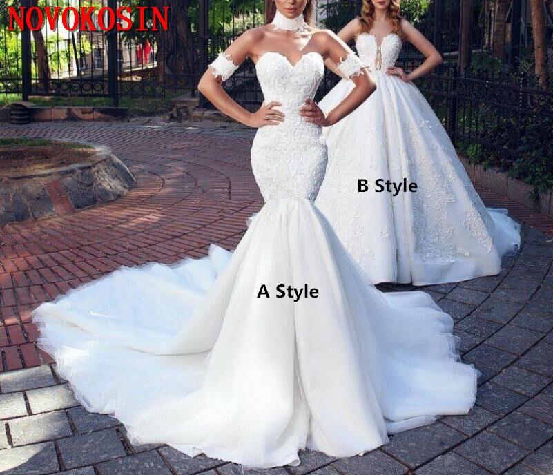 2019 mode sirène dentelle robes De mariée chérie cou grande taille robe De mariée Train Royal trompette perlée robes De Novia