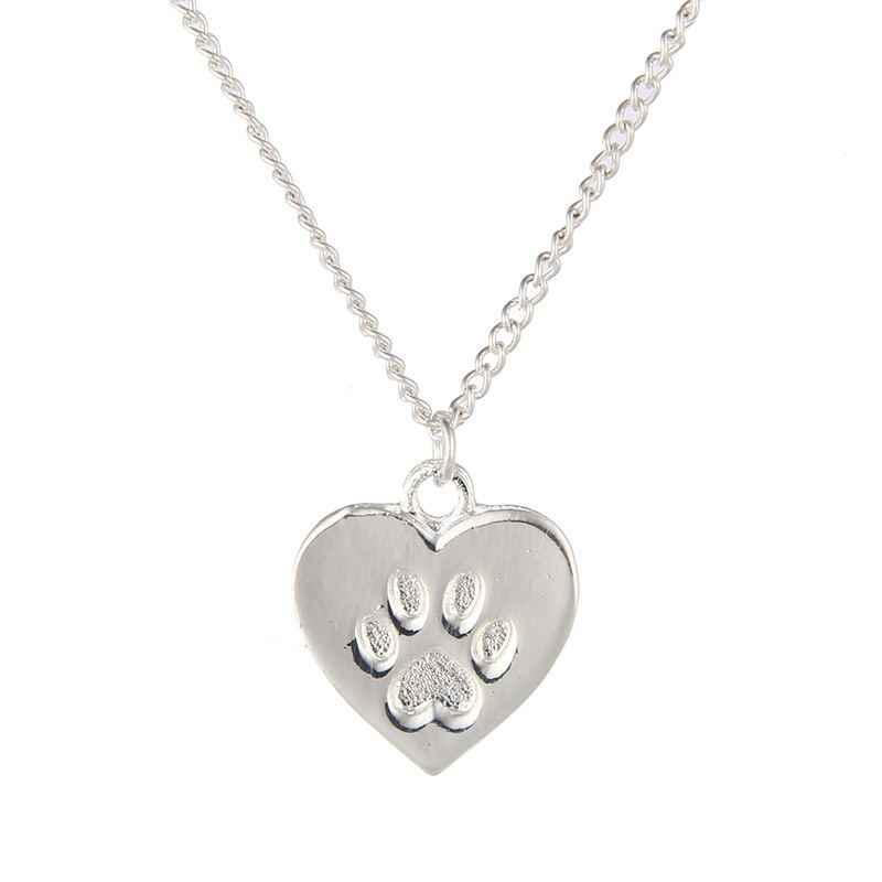 ZHIMO Цепочки и ожерелья для девочек Дети сплав золота отпечаток лапы собаки подвеска с фигуркой животного мультфильм сердце аксессуары для изготовления украшений Для женщин