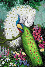5D DIY Diamond Painting White Peacock Lovers Full Square Crystal Diamond Painting Cross Stitch Forest Needlework Home Decorative