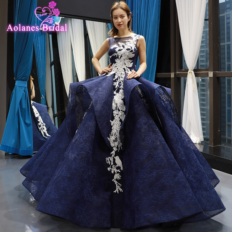Navy Long   Prom     Dress   2019 Ruffles Skirt Ball Gown Tulle Lace Appliques Masquerade Sweet 16   Dresses   For Wedding Party   Dresses