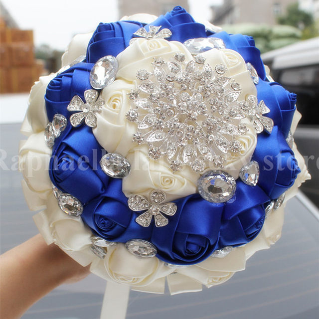 Online Shop High Quality Bridal Royal Blue Cream Satin Flowers ...