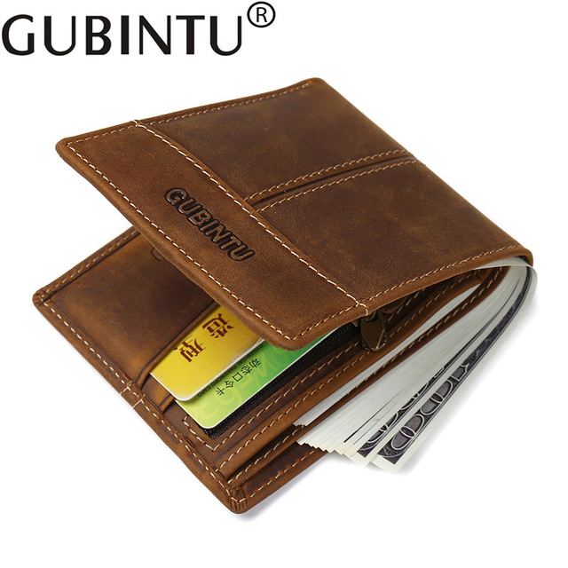 bc95e62b7b9b Original GUBINTU Brand Cow Leather Men s Wallets Luxury Vintage Genuine  Leather Wallet Men Short Male Coin Purse Bifold Wallet