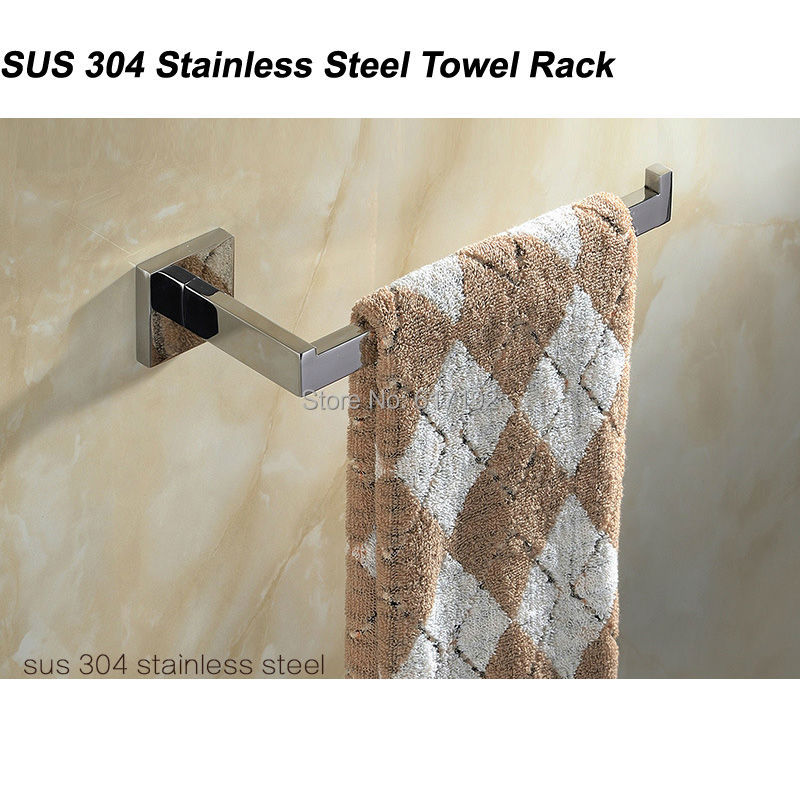 1pcs SUS 304 <font><b>Stainless</b></font> <font><b>Steel</b></font> Single <font><b>Towel</b></font> Bar <font><b>Towel</b></font> Rack Holder In The Bathroom Wall Mounted <font><b>Towel</b></font> Ring Free Shipping