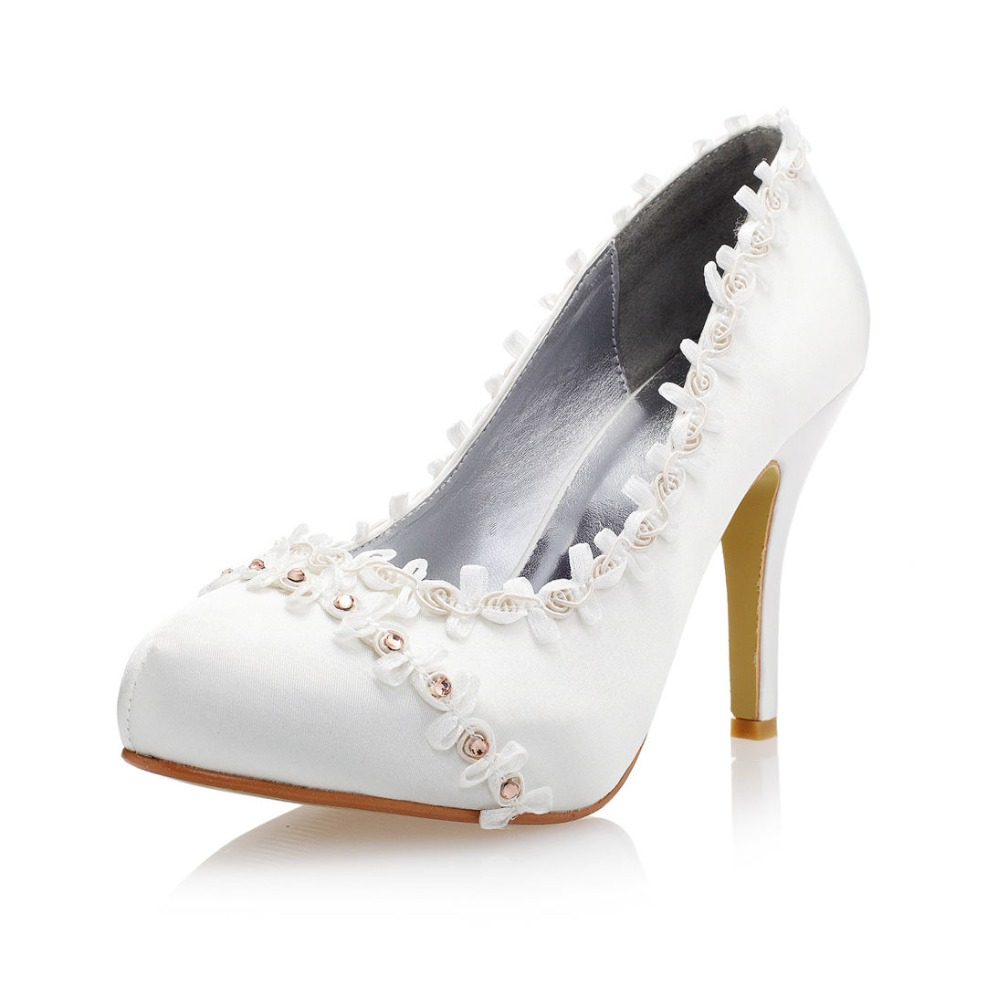 crystal round toe high heels bridal shoes font b women s b font lace shoes satin