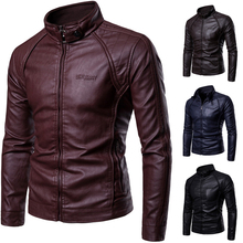 2019 Spring and Autumn New Men's Stand Collar Leather Jacket Zipper Metal Buckle Decorative Letter Printed Leather Jacket men s slim fit zipper stand collar letter printed jacket