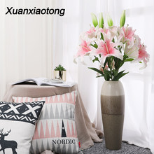 Xuanxiaotong Large Artificial PU Lilium Flowers for Home Decorative Best Wish for Mother Gift Desktop Decoration High Quality(China)
