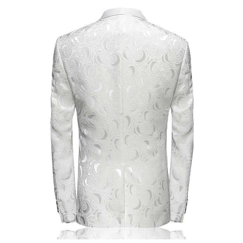 MOGU Blazer Männer 2017 Frühjahr Neue Ankunft männer Floral Casual Anzug Weiß Gedruckt Hochzeit Blazer Slim Fit männer jacke Asiatische Größe - 2