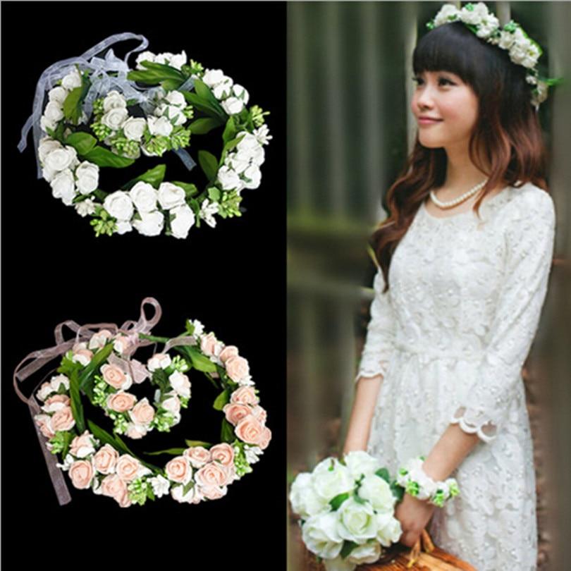 Flower Garlands For Weddings: (2Pcs)Bracelet Flower + Flower Garland Floral Bridal