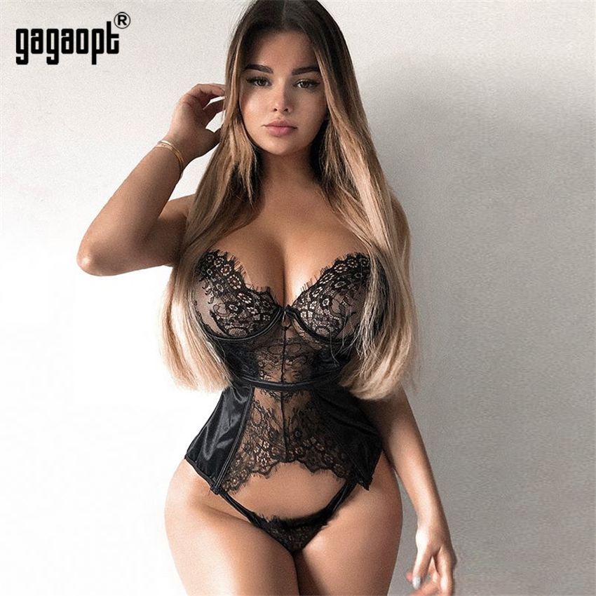 Gagaopt 2019 Spring Lace Bodysuit Fashion Floral Embroidery Sexy Bodysuit White/Black Bodysuit Jumpsuit Overalls Sleepwear