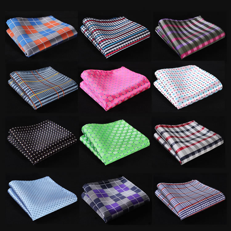 CF Check Men Silk Satin Pocket Square Hanky Jacquard Woven Classic Wedding Party Handkerchief