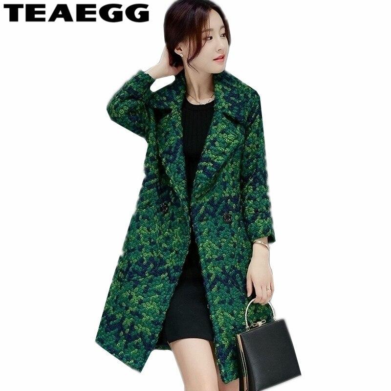 TEAEGG décontracté automne hiver Manteau femmes laine vêtement d'extérieur parka vert Manteau Long Femme femmes en laine Manteau Famale grande taille 3XL AL182