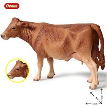 Oenux New Farm Animals Cow Simulation Poultry Cattle Calf Bull OX Model Action Figures PVC High Quality Collection Toy Kids Gift