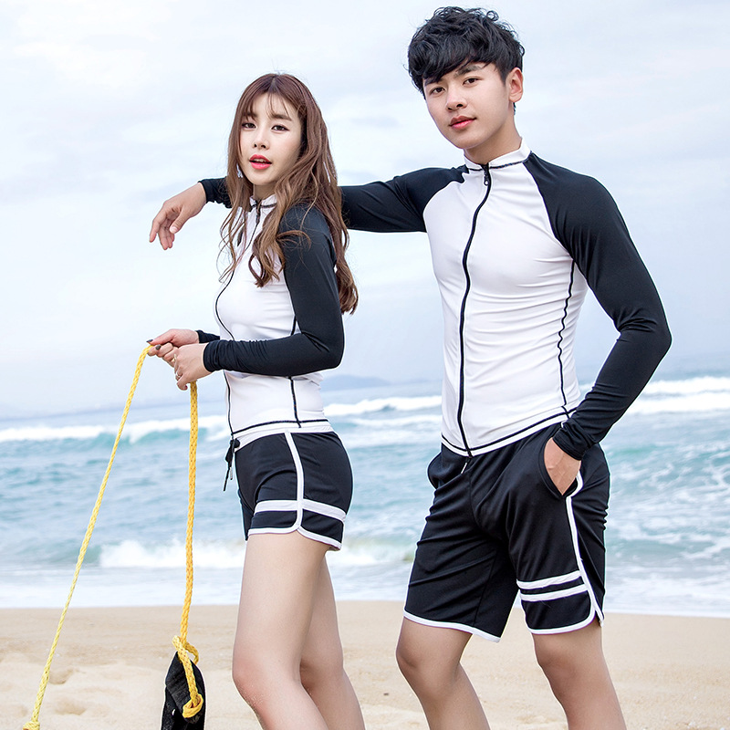 1 Pc Beach Clothes Rash Guards Swimsuit Surf Swimwear Windsurfing Quick-drying Clothing Black and White Soft Woman Long Sleeves
