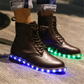 LED Shoes Emitting Luminous Men Boots Genuine Leather Men Martin Boots Couples USB Charging Light Up Led Ankle Boots For Men