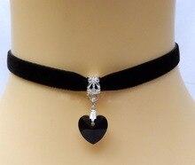 Новая Мода Ожерелья & Подвеска Для Женщин 2016 Бархат Сердце Кристалл Колье Ожерелье Заявление Ожерелья Бесплатная Доставка