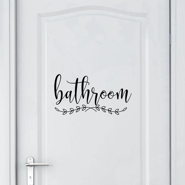 Bathroom Sign Decal Home Toilet Door Art Wall Decor , Laundry Door Sign Vinyl Sticker Farmhouse Style Mural Decals Home Decor 2