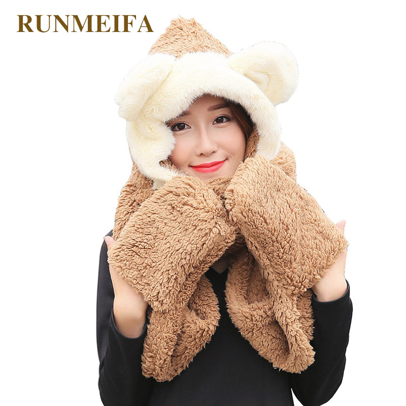 9a7cf48bff1 IANLAN Winter Girls Cartoon Bear Style Solid Hats Scarves Lovely Kids  Thermal Thickening Cap Knit Wool ...