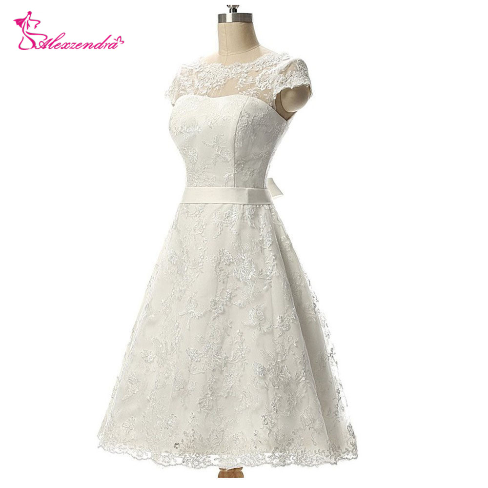 Alexzendra Vintage Short Wedding Dress Knee Length Lace Bridal Gow A Line Bridal Gowns vestido de