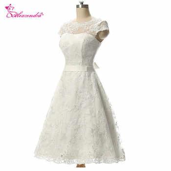 Alexzendra Vintage Short Wedding Dress Knee-Length Lace Bridal Gow A Line Bridal Gowns vestido de noiva - DISCOUNT ITEM  30% OFF Weddings & Events