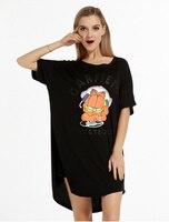 Women Nightgowns Summer Sleepwear Casual Night Dresses Plus Size Short Sleeve Letter Print Loose Nightdress