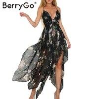 Berrygo סקסי ללא משענת צלב הדפסת תחבושת קיץ dress נשים v העמוק צוואר שרוולים ארוך dress vestidos מסיבת קיץ robe femme