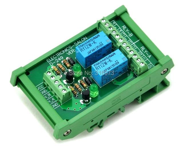 DIN Рейку 2 DPDT Реле Сигнала Интерфейс Модуля, DC12V Версии.