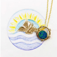 ANI 18K Yellow Gold (AU750) Wedding Pendant Necklace Natural Opal Certificate Natural Diamond Women Chain Necklace for Birthday