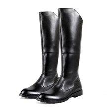 Livraison gratuite Printemps/Automne hommes de Plat honor garde défilé bottes D'équitation de mode Genou Haute bottes pour hommes