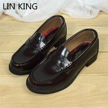 Lin king/Винтажные JP студентов форма Обувь Женские Весенние Простые Дизайн из искусственной кожи Косплэй Обувь обувь с круглым носком на квадратном каблуке