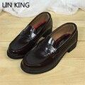 Lin rey jp vintage estudiantes uniforme zapatos mujer primavera simple diseño de cuero de la pu zapatos de cosplay zapatos de tacón cuadrado punta redonda