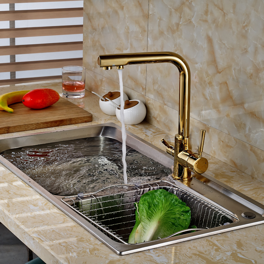 Golden Brass Kitchen Faucet Dual Handles Vessel Sink Mixer Tap Swivel Spout W/ Pure Water Tap antique brass swivel spout dual cross handles kitchen