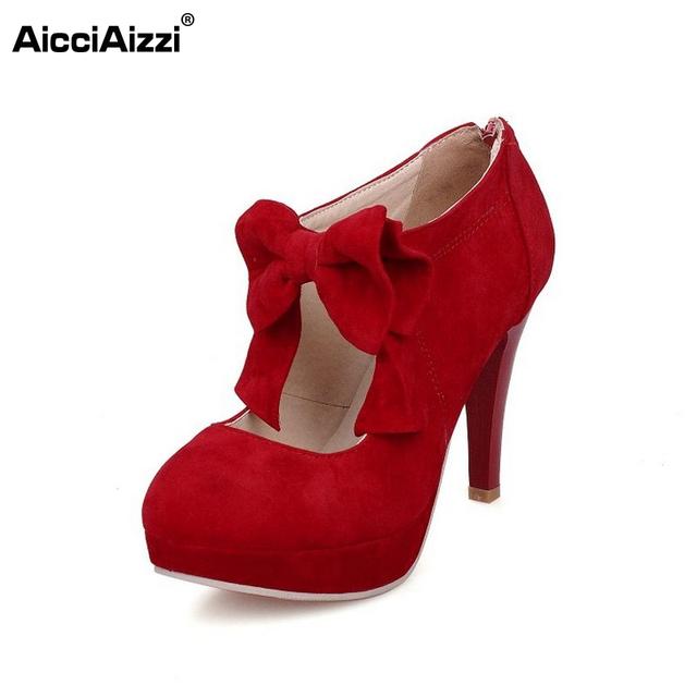 Las mujeres del dedo del pie redondo zapatos de mujer de tacón fino pupms pajarita moda bowknot calzado de tacón alto zapatos de tacón zapatos de fiesta más tamaño 30-47 PA00150