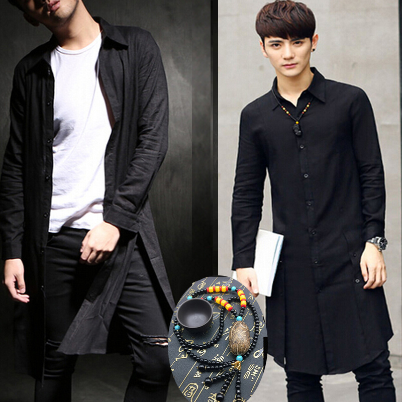 2018 Celeb Avant Garde Design Men s Japanese Slim Clothing Unbalance Cut  Cotton Long Sleeve Shirt Sun Protective Tops Clothes-in Casual Shirts from  Men s ... 6ccbe97c0