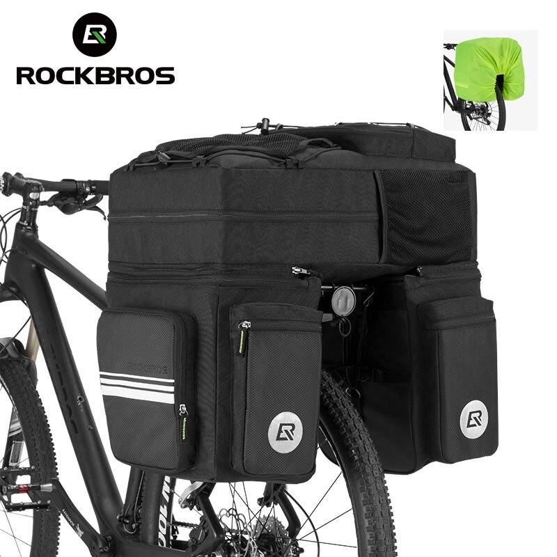 ROCKBROS Bike Bag Black 48L Mountain Bike Rack Rear <font><b>Seat</b></font> Trunk Bag 3 in 1 Multifunction MTB Road Bicycle Pannier With <font><b>Rain</b></font> Cover