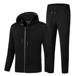 2019 NEUE Winter Warm Mit Kapuze Trainingsanzug männer Set Herbst Casual Zwei Stück Anzüge Sportswear Baumwolle Lauf Jacke + Hosen männlichen 9XL