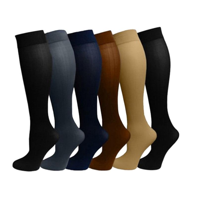 1 Pair Unisex Antifatigue Compression   Socks   Flight Travel Anti-Fatigue Knee High Anti Fatigue Magic Stockings Black/White/Nude