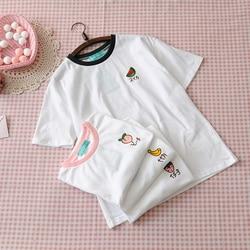 2019 New Kawaii Strawberry Embroidery Tshirt Colorful Neck Cute Tshirt Womens tee Tops Korean Ulzzang Cute Fruit Cotton T Female 4